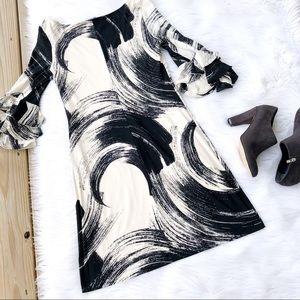 Muse Ruffle Bell Sleeve Mini Shift Dress